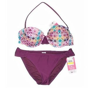 NWT Hula Honey Wine Geometric Push-up Bikini Set
